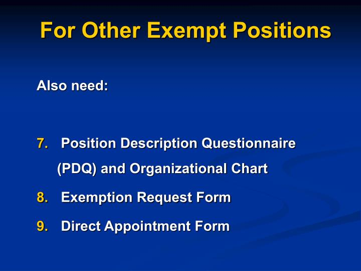 For other exempt positions