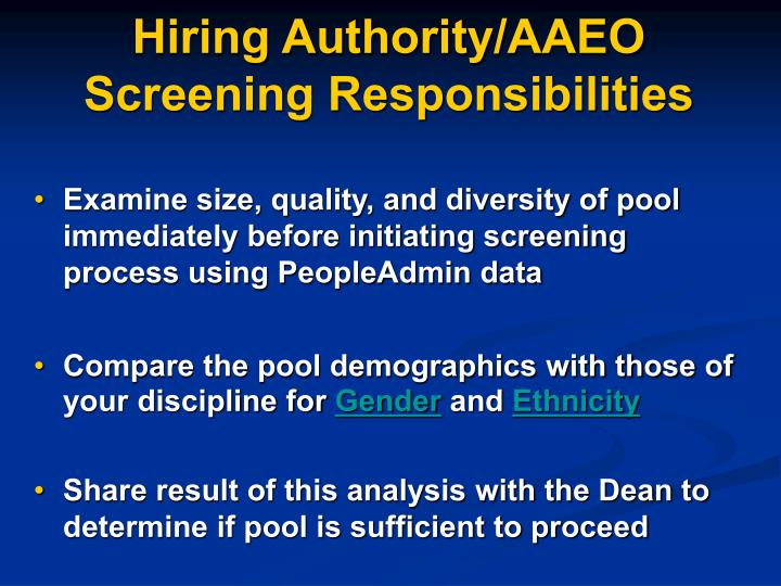 Hiring Authority/AAEO  Screening Responsibilities