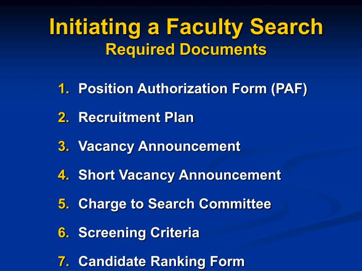 Initiating a faculty search required documents