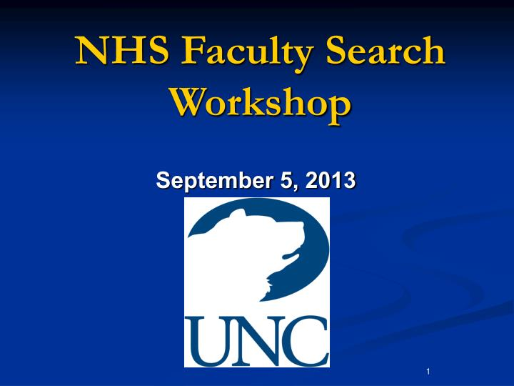 Nhs faculty search workshop