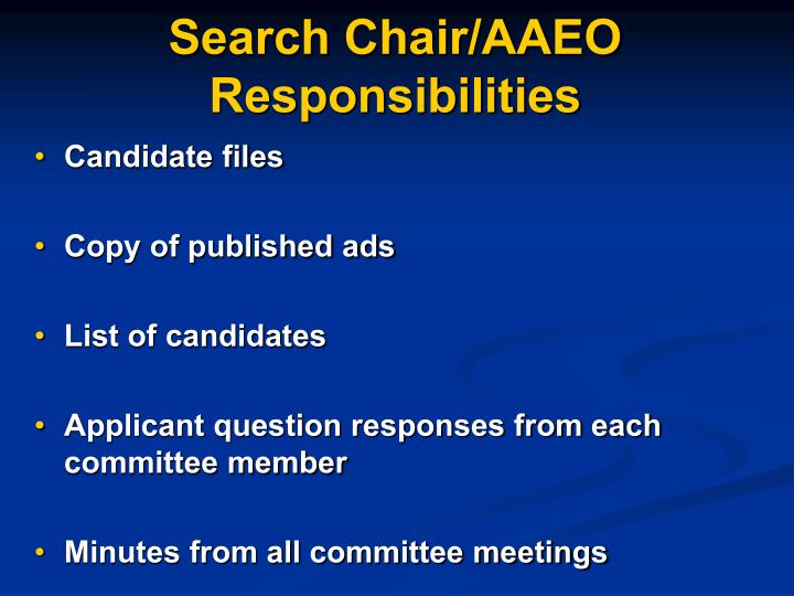 Search Chair/AAEO Responsibilities