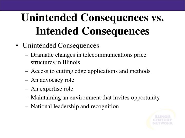 Unintended Consequences vs. Intended Consequences