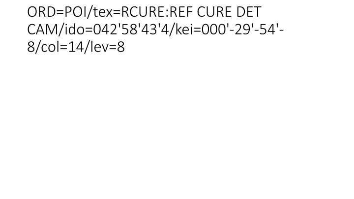 ORD=POI/tex=RCURE:REF CURE DET CAM/ido=042'58'43'4/kei=000'-29'-54'-8/col=14/lev=8