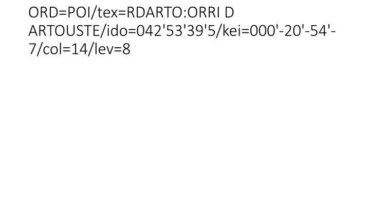 ORD=POI/tex=RDARTO:ORRI D ARTOUSTE/ido=042'53'39'5/kei=000'-20'-54'-7/col=14/lev=8