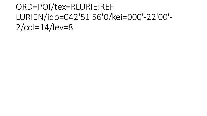 ORD=POI/tex=RLURIE:REF LURIEN/ido=042'51'56'0/kei=000'-22'00'-2/col=14/lev=8