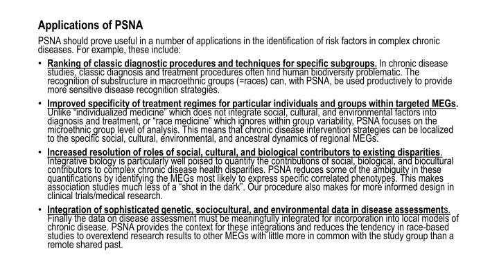 Applications of PSNA
