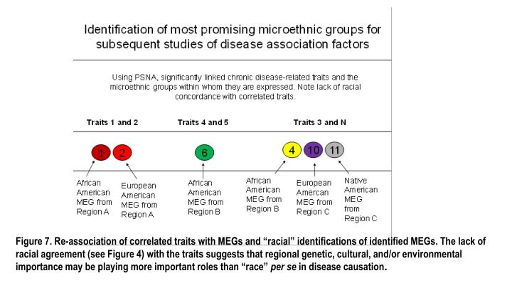 """Figure 7. Re-association of correlated traits with MEGs and """"racial"""" identifications of identified MEGs. The lack of racial agreement (see Figure 4) with the traits suggests that regional genetic, cultural, and/or environmental importance may be playing more important roles than """"race"""""""