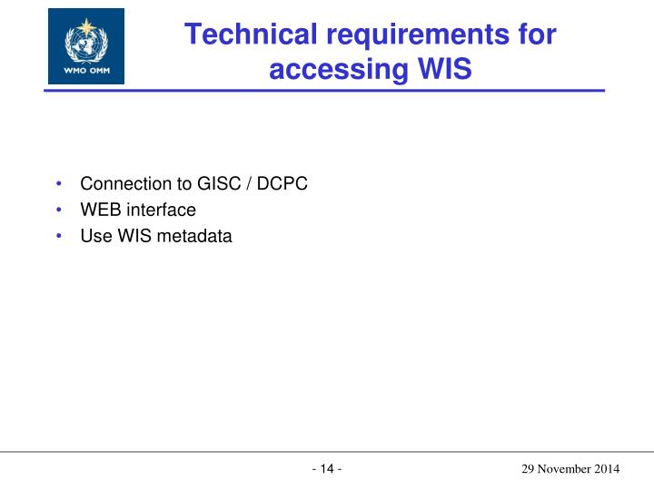 Technical requirements for accessing WIS