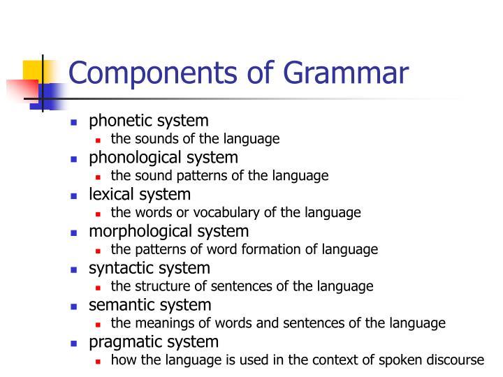 Components of Grammar