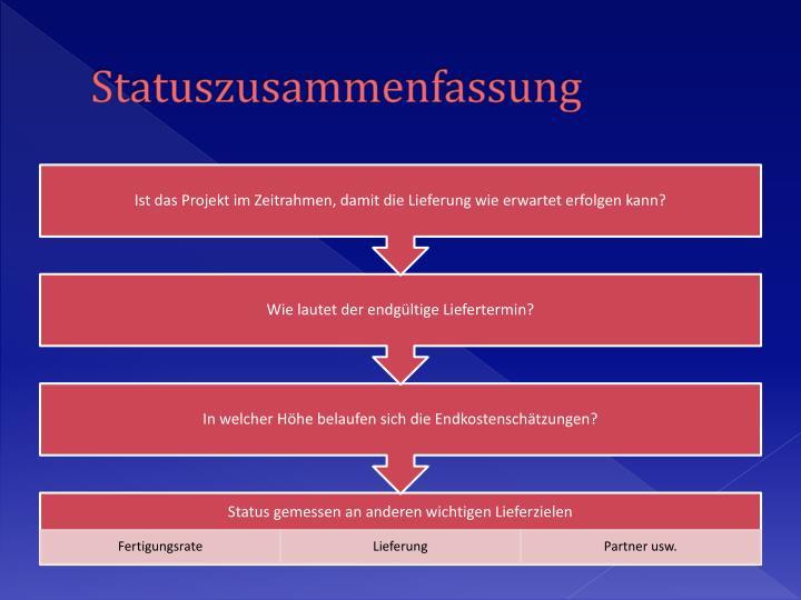 Statuszusammenfassung