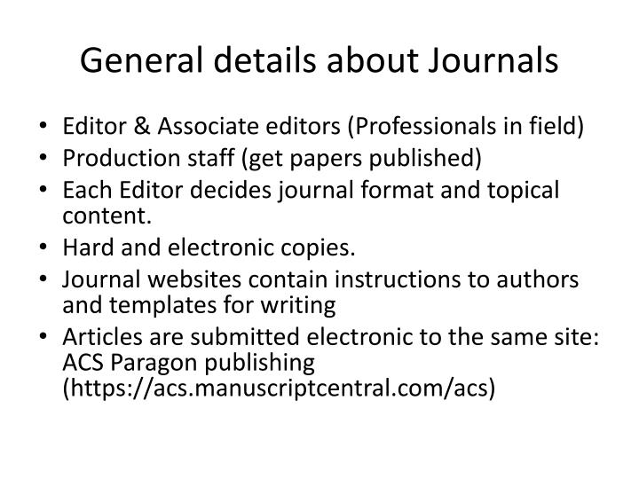 General details about Journals