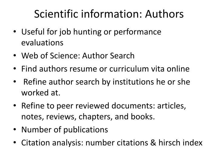 Scientific information: Authors