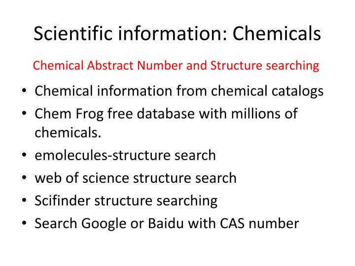 Scientific information: Chemicals