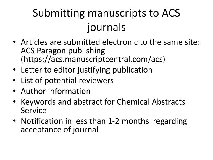 Submitting manuscripts to ACS journals