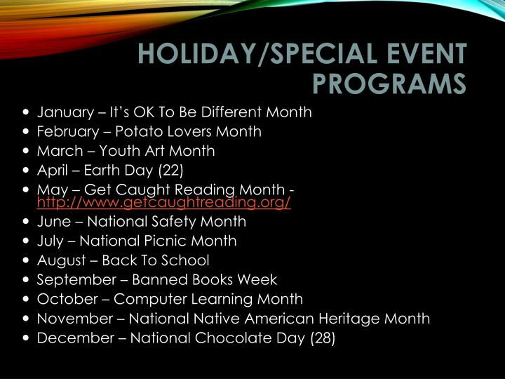 Holiday/Special Event Programs