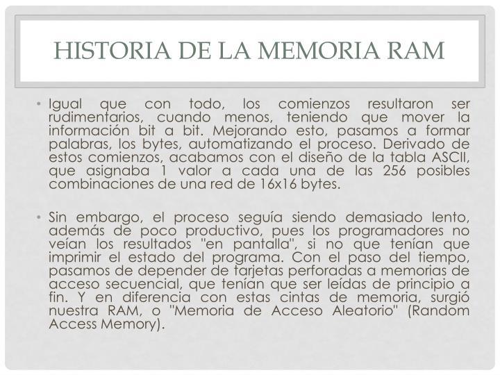Historia de la memoria RAM