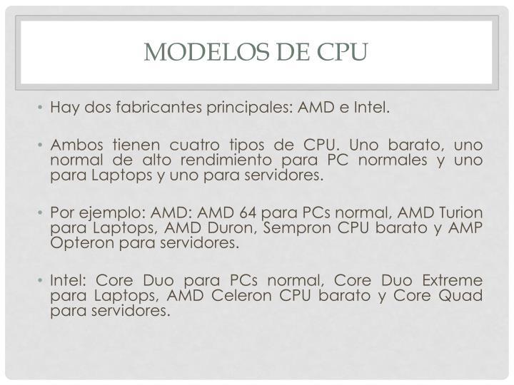 Modelos de CPU