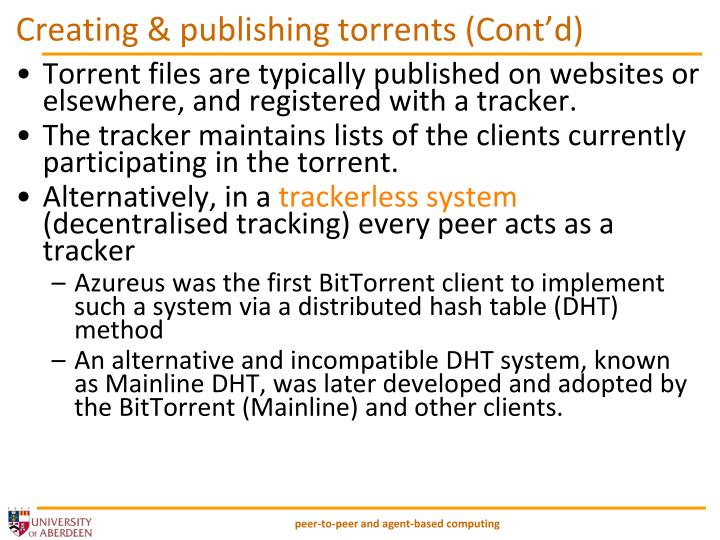 Creating & publishing torrents (Cont'd)