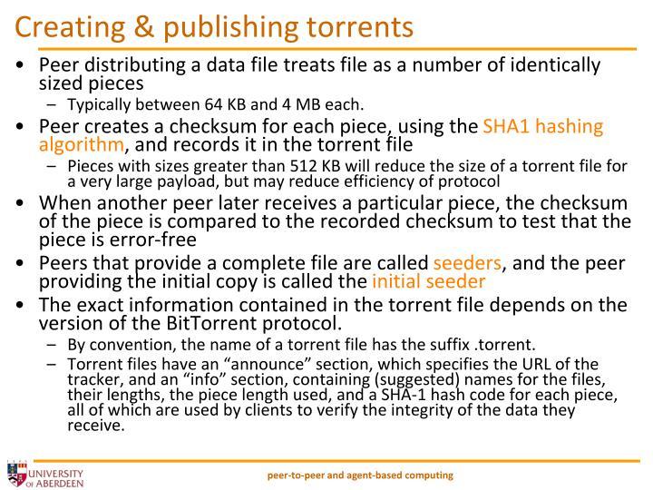 Creating & publishing torrents