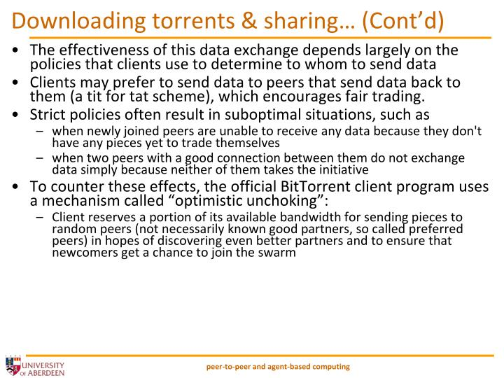 Downloading torrents & sharing… (Cont'd)