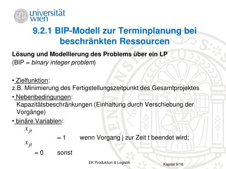 9.2.1 BIP-Modell zur Terminplanung bei beschränkten Ressourcen