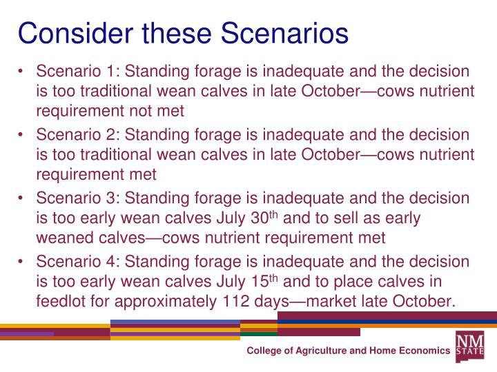 Consider these Scenarios