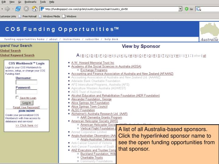 A list of all Australia-based sponsors.  Click the hyperlinked sponsor name to see the open funding opportunities from that sponsor.