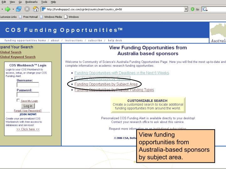 View funding opportunities from Australia-based sponsors by subject area.