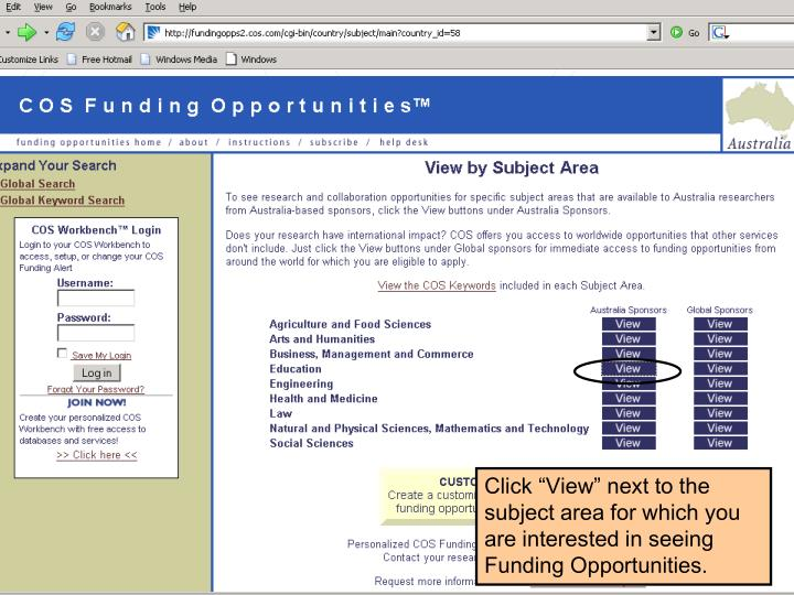 "Click ""View"" next to the subject area for which you are interested in seeing Funding Opportunities."