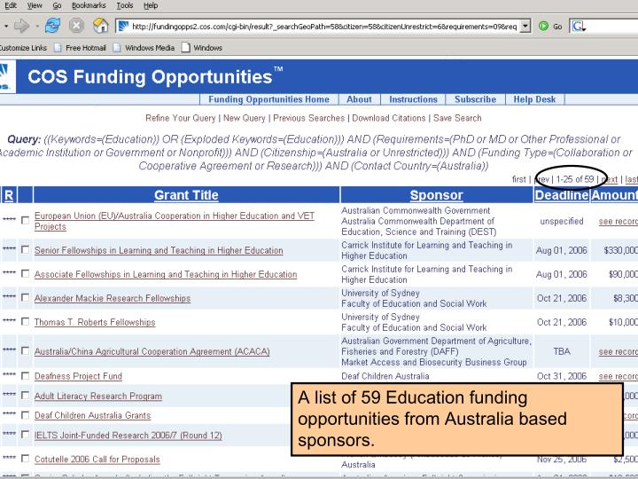 A list of 59 Education funding opportunities from Australia based sponsors.