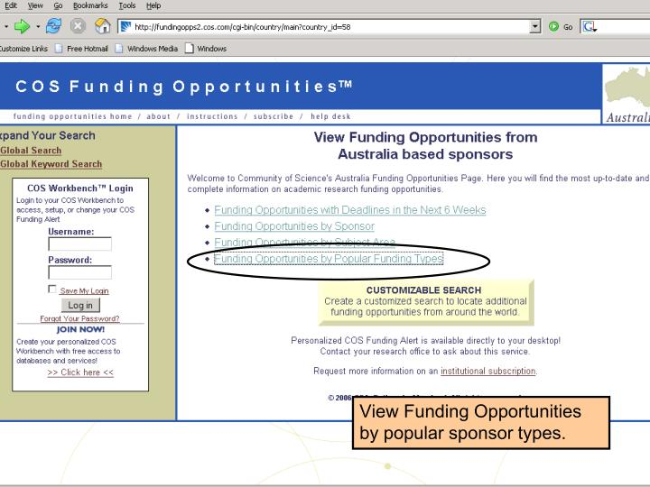 View Funding Opportunities by popular sponsor types.