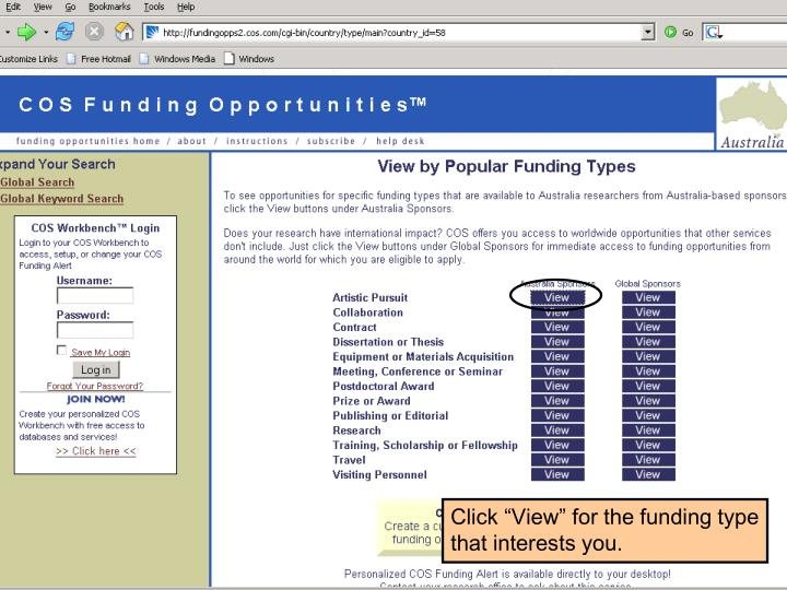 "Click ""View"" for the funding type that interests you."