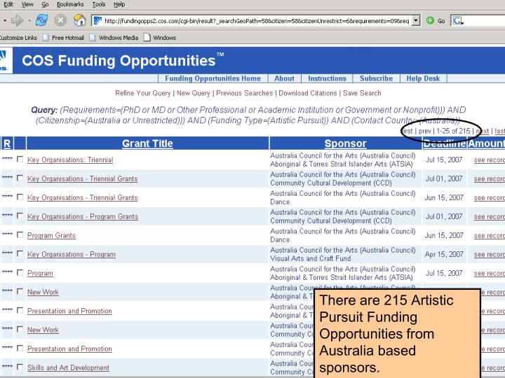 There are 215 Artistic Pursuit Funding Opportunities from Australia based sponsors.