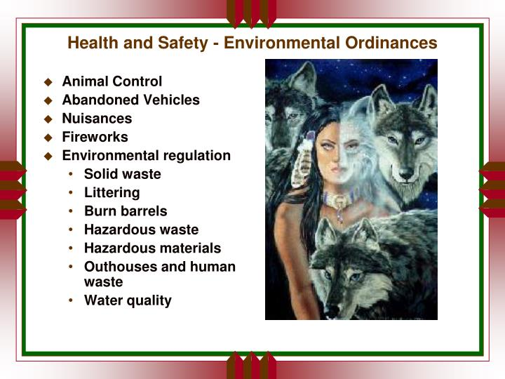 Health and Safety - Environmental Ordinances