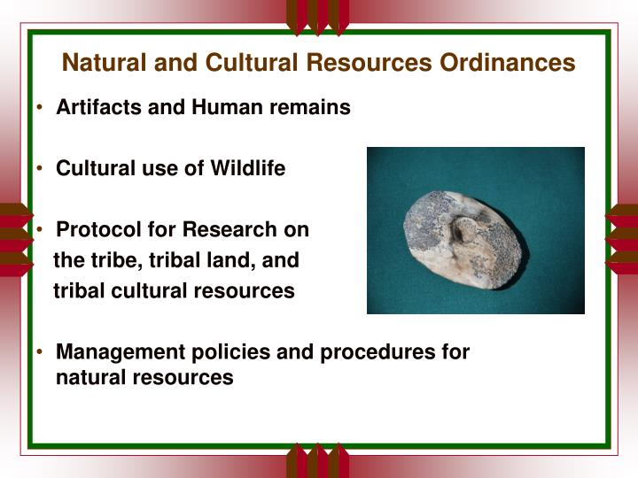 Natural and Cultural Resources Ordinances