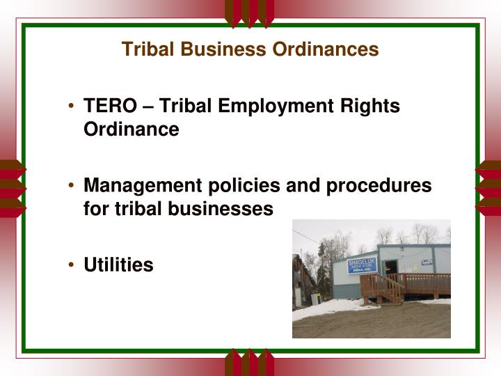 Tribal Business Ordinances