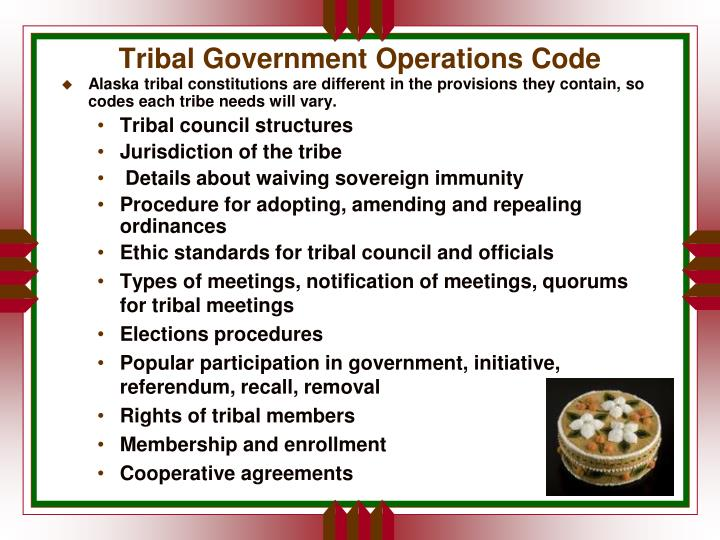 Tribal Government Operations Code