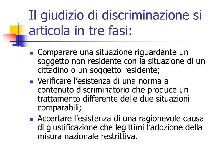 Il giudizio di discriminazione si articola in tre fasi: