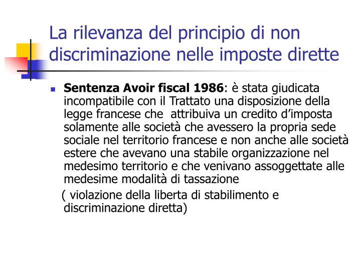 La rilevanza del principio di non discriminazione nelle imposte dirette
