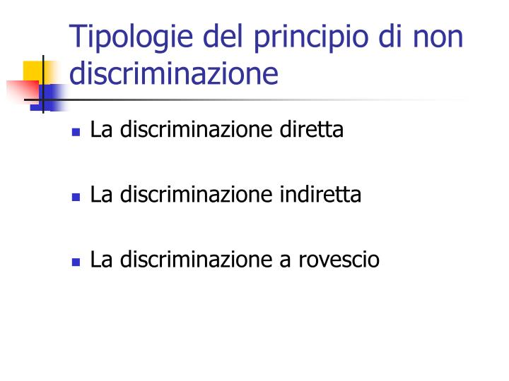 Tipologie del principio di non discriminazione