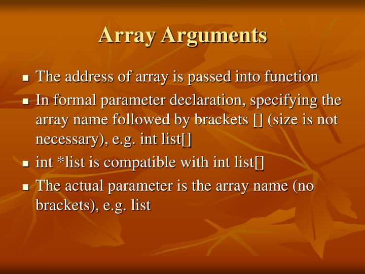 Array Arguments