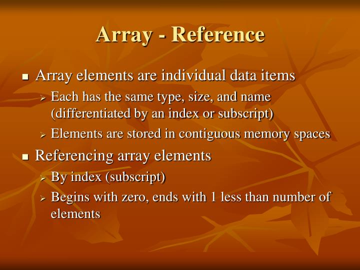 Array - Reference