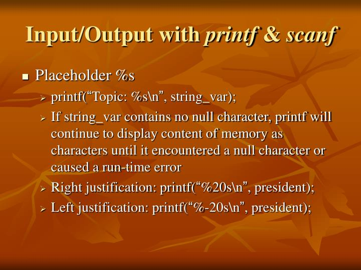 Input/Output with
