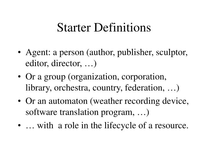 Starter Definitions