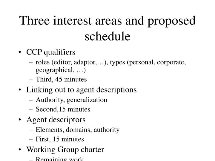 Three interest areas