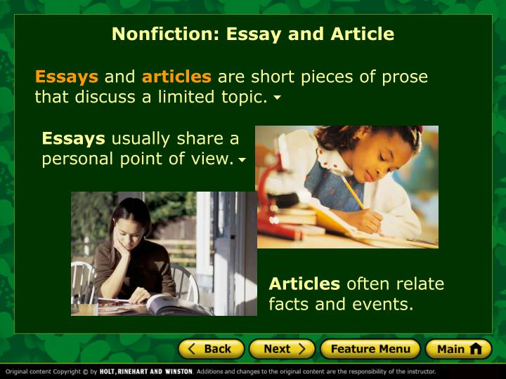 Nonfiction: Essay and Article