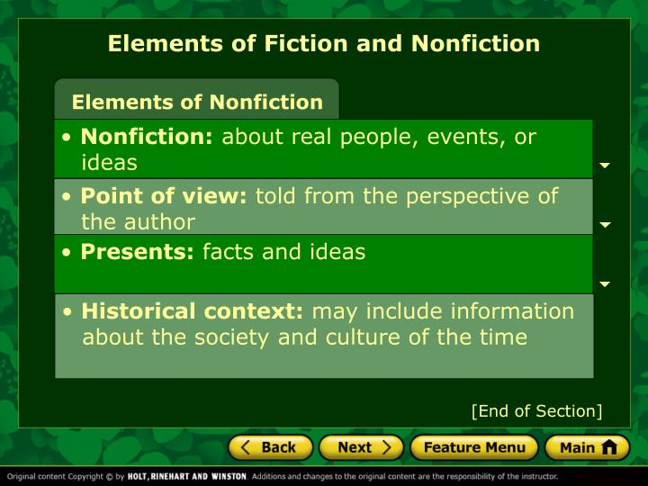 Elements of Fiction and Nonfiction