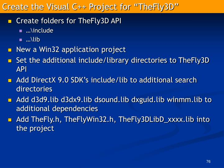 "Create the Visual C++ Project for ""TheFly3D"""