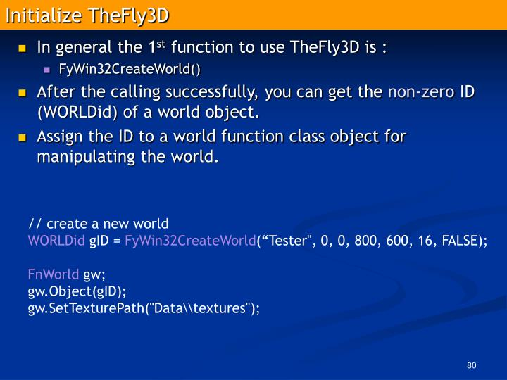 Initialize TheFly3D
