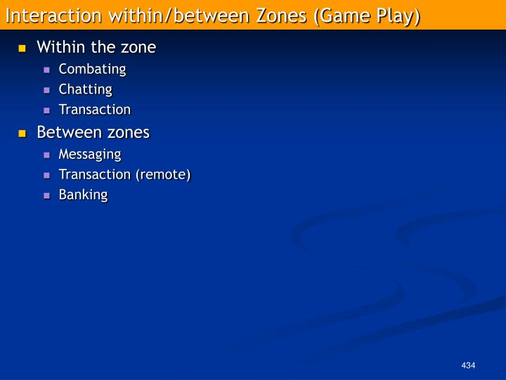 Interaction within/between Zones (Game Play)